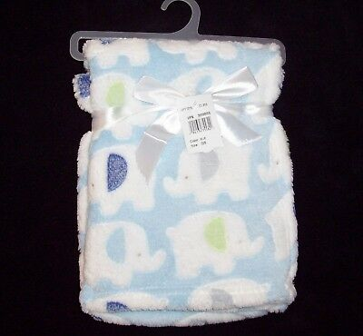 NEW Cutie Pie Blue Green White Elephant Baby Blanket Security Lovey