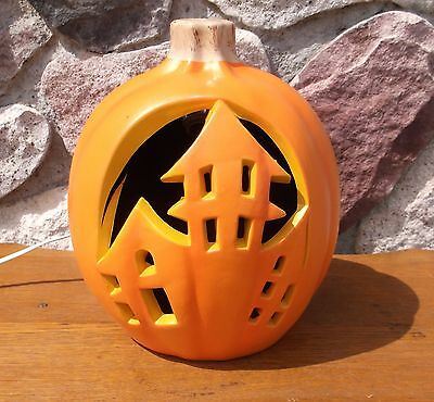 Halloween Blow Mold Pumpkin Haunted House Carved Light Up Prop 9""