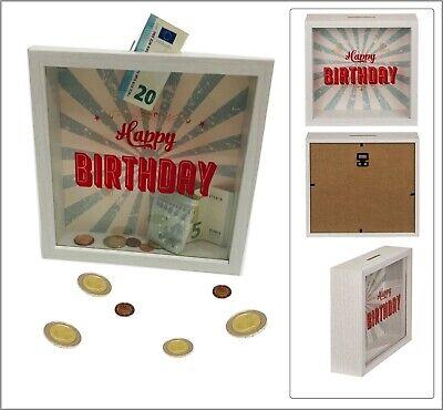 Hucha Happy Birthday Cumpleaños Hucha Marco de Madera Acrílico Vidrio 20x20x5cm