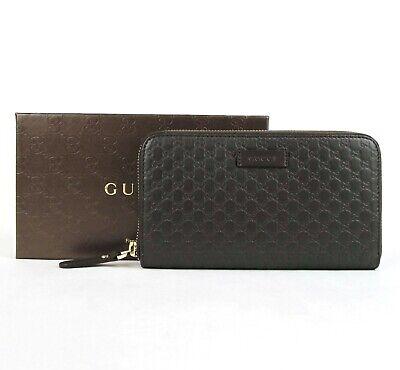 Gucci Unisex Dark Brown Microguccissima Leather Zip Around Wallet 449391 2044