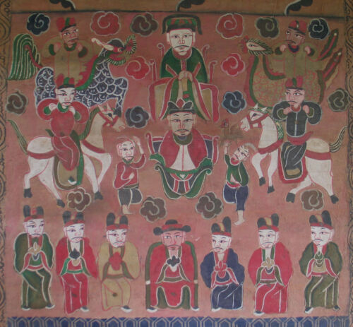 Yao or Mien people of Northern Thailand Antique Religious Painting on Ricepaper