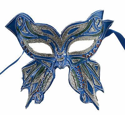 Mask from Venice Farfella Blue Green Silver Mixed Butterfly in Paper Mache 1780