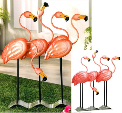 "23.5"" BRIGHT PINK FLOCK O' 4 FLAMINGOS IRON ART DÉCOR *Indoor/Outdoor* NIB"