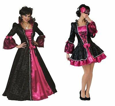 Excl. Kostüm Barock Kleid Damen Rokoko Barockkleid schwarz pink Maskenball