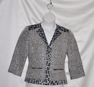 Joan Rivers Button Front Boucle Jacket W/Animal Printed Trim Size S Grey Multi