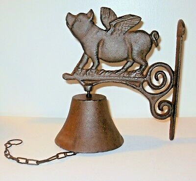 - New~Cast Iron Flying Pig Wall Mount Bell~Nice Sound~WHEN PIGS FLY~Porch Patio