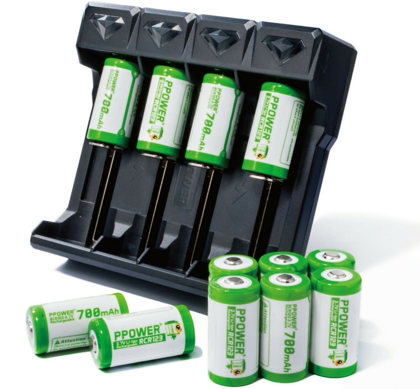 PPOWER 12x 3.7V 700mAh RCR123A Li-ion Rechargeable Batteries for Arlo IP CAM