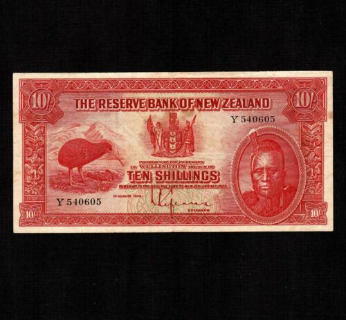 New Zealand 10 Shillings 1934 P-154 * VF * Rare *