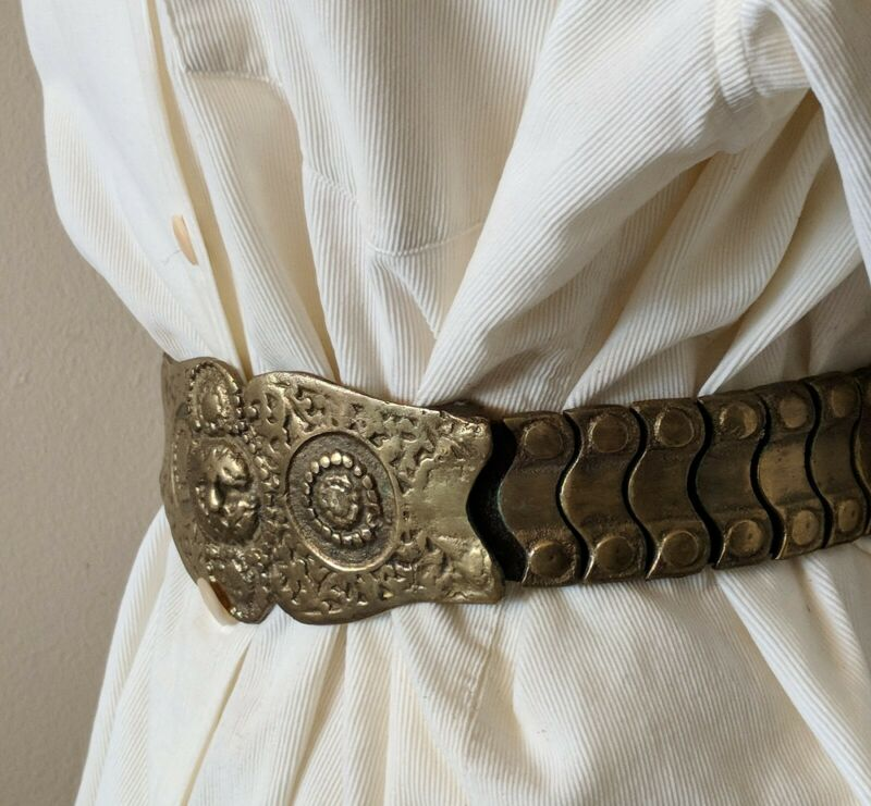 Antique Ottoman Articulated Repousse Bronze Silver Leather Art Wear Armor Belt