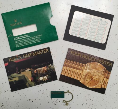 1997 Rolex GMT-Master English Booklet Set Calendar Card Green Swimpruf Hang Tag