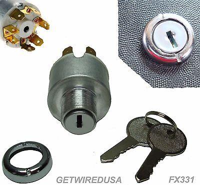 Universal Ignition Switch Flush Mount 24-v 7-wire 2-key 4-position On Off Start