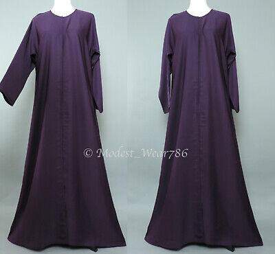 Dubai Abaya Classic Open Everyday Muslim Women Dress Nida Plum