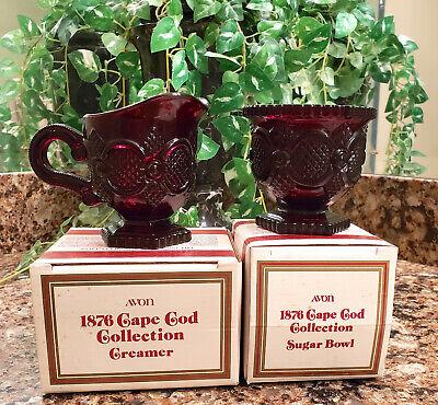 Avon Cape Cod Collection Ruby Red Glass Open Sugar Bowl & Creamer Set NEW in Box