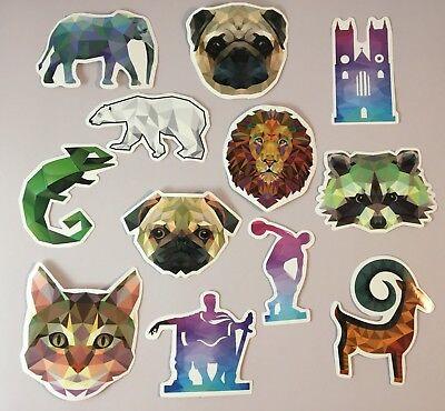 (Animal Geometric Stickers Lizard, Pug, Cat, Polar Bear, Lion, Elephant, and More)