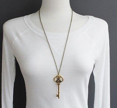 antiqued Gold key necklace 27