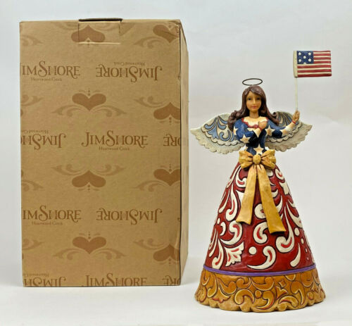 Jim Shore FLAG OF FREEDOM FOREVER WARE Patriotic Angel 4th July Figurine
