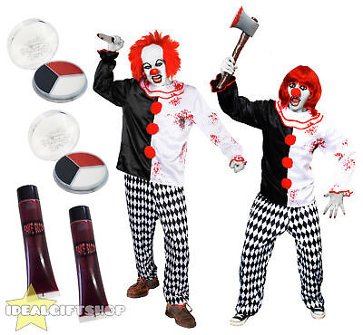 Scary Halloween Couple Costumes (COUPLES KILLER CLOWN ADULTS HALLOWEEN FANCY DRESS COSTUME HORROR CIRCUS)