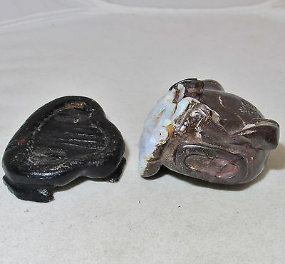 """2.3"""" Chinese Carved Australian Boulder OPAL Snuff Bottle with Qilin or Foo Lion"""