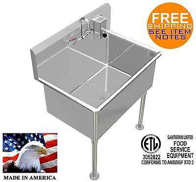 Hand Sink 36x24x15deep Tub Heavy Duty Stainless Steel Basin Wsoap Dispenser