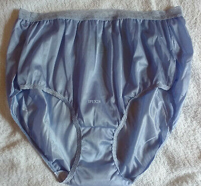 Silky Blue Nylon Vintage Style JUST MY SIZE Panties Brief Knickers   UK 24 US 13