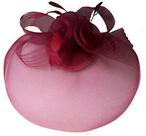 Wedding Races Party Fascinator Veil Net Hat with Cones and Feathers - 7 Colours