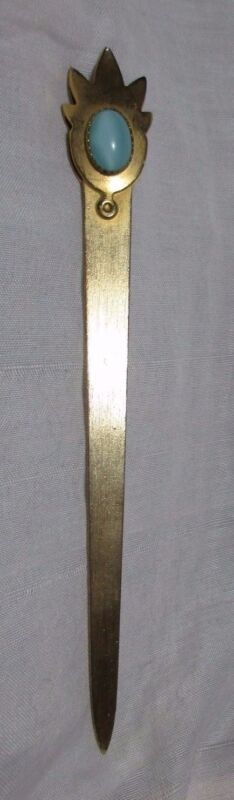 BRASS & OPAL STONE,  BOOK MARK;  Antique Original c1900