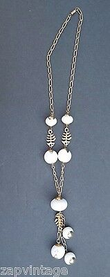 Vintage GOLD Vector Fish Bones (Skeleton) W/ Dangling White Beads  - Vector Costume