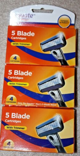 Equate 5 Blade Razor Refill Cartridges With Trimmer For Men Lot 12