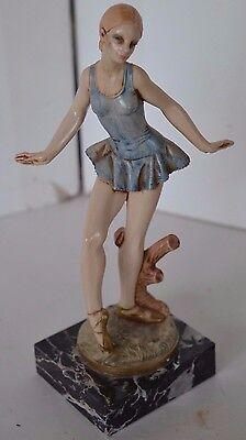 Vintage Ballerina Italy Depose Dancer Marble Base Fontanini