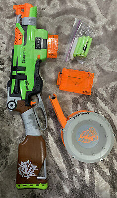 NERF ZOMBIE STRIKE SlingFire Blaster Drum Mag Included Extra Mag TESTED