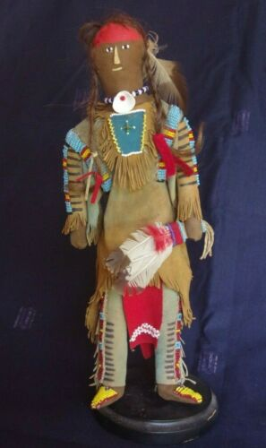 Vintage Beaded doll with human hair - Lakota Sioux - Native American -