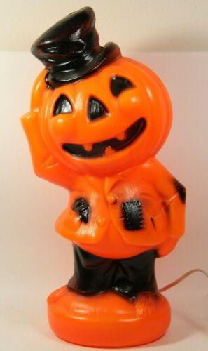"Vintage 1969 Empire Plastic Blow Mold Lighted Pumpkin Scarecrow Halloween 14.5"""