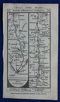 Original antique road map MAIDSTONE, SEVENOAKS, DORKING, BATH, Paterson, 1785