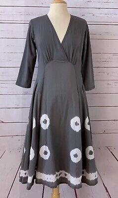 LUNA LUZ Size S Tie Dye Surplice Neckline A-line Flare Midi Dress Gray