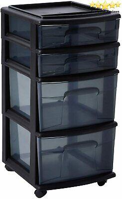 HOMZ Plastic 4 Drawer Medium Cart, Black Frame with Smoke Tint Drawers, Casters