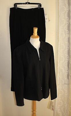 NWT Jones New York -Sz 16 Exquisite Wool Crepe Zip-Up Jacket Pant Suit Career