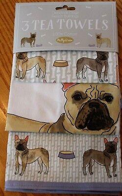 SWEET MILLY GREEN LONDON BULLDOG DOG 3 KITCHEN TEA TOWEL SET MOTHERS DAY GIFT