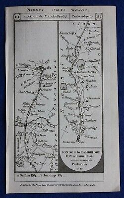 Original antique road map LANCASHIRE, SUFFOLK, CAMBRIDGE, ELY, Paterson, 1785