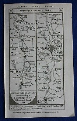 Original antique road map YORKSHIRE, TADCASTER, YORK, PICKERING, Paterson, 1785