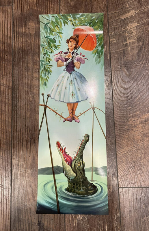 """Tightrope Girl Haunted Mansion Stretching Room portrait poster 8"""" x 24"""" Disney"""