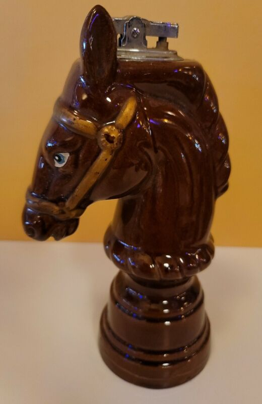 Vintage 1950s Horse Redware Pottery Table Cigarette Lighter