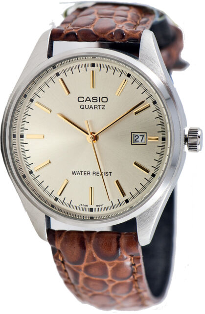 Casio MTP-1175E-9A Mens Analog Leather Band Watch Gold Casual New with Date
