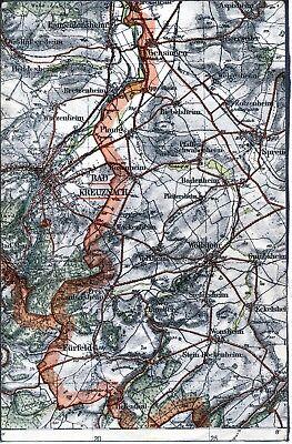 Bad Kreuznach Fürfeld Wöllstein 1933 orig. Teil-Karte/Ln. Gensingen Sprendlingen