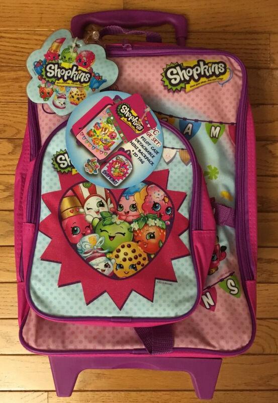 Shopkins Kids 3 pc Travel Set: Rolling Luggage Pilot Case, Mini Backpack, ID Tag