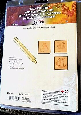 """3/4"""" OLD ENGLISH ALPHABET STAMP SET & HANDLE 8142-00 Tandy Leather Stamping Sets"""