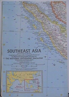 Vintage 1961 National Geographic Map of Southeast Asia