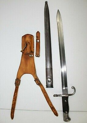 Antique 1909 Modelo Argentino Solingen Military Bayonet Sword & Scabbard WWI