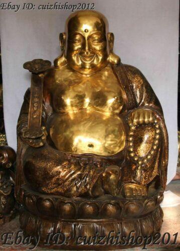 """31"""" Chinese Bronze Gilt Seat lotus Happy Laugh Maitreya Buddha Hold Ruyi Statues"""