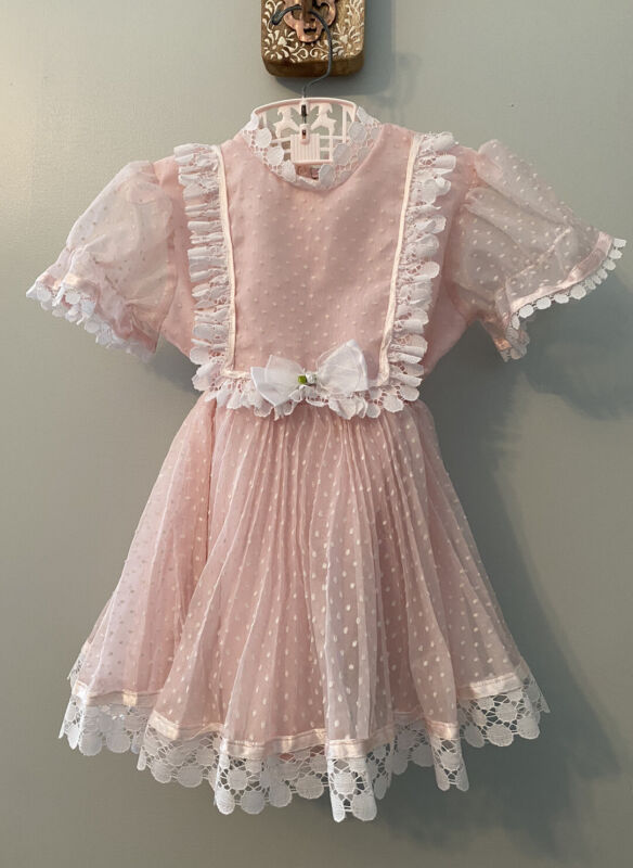 Vtg Girls 4T Dress Toddler Full Skirt Pink Sheer Party Swiss Dot