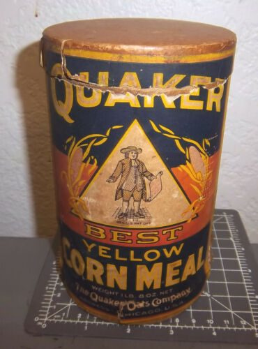 Vintage Quaker Best Yellow Corn Meal 8 oz Container, Empty, paper label